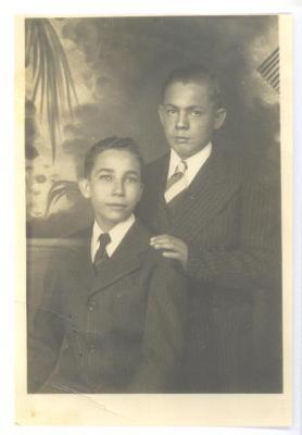 Herman Badillo with cousin José Luis Díaz, Caguas, Puerto Rico