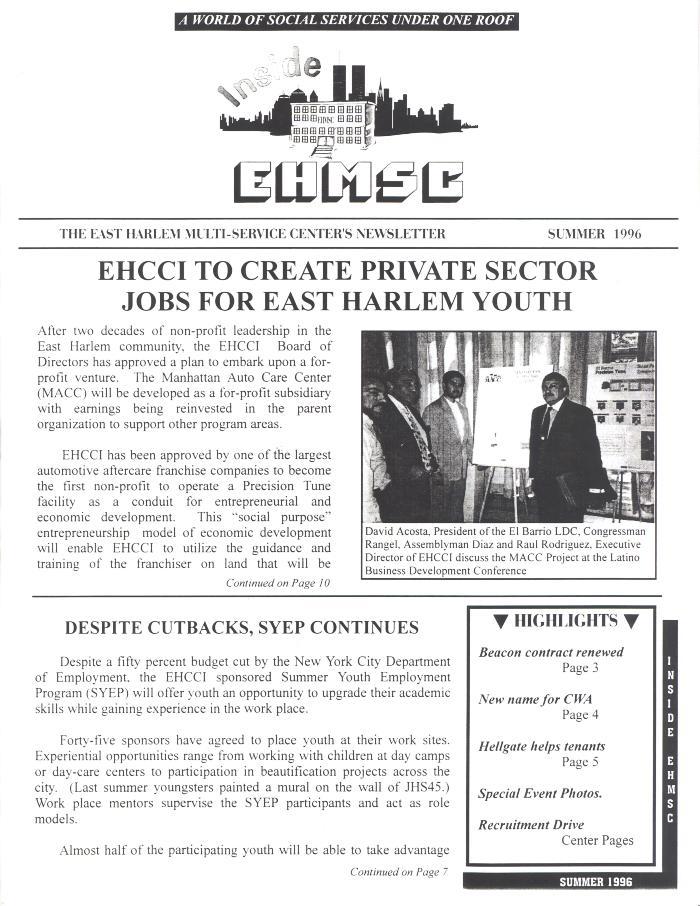 East Harlem Multi-Service Center's Newsletter