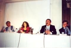 Speaking panel including Rudolfo Anaya, Julia Alvarez, Edgardo Vega and Ilan Stavans
