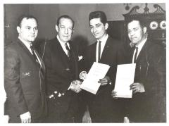 Mayor Wagner and Santiago Iglesias Society members at New York City Hall
