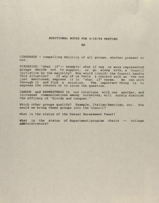 Additional Notes for 4/18/94 Meeting
