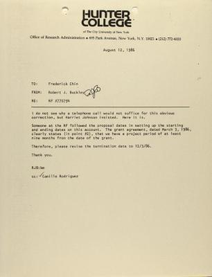 Memorandum from Hunter College