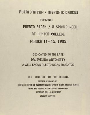Puerto Rican/Hispanic Caucus Presents Puerto Rican/Hispanic Week at Hunter College