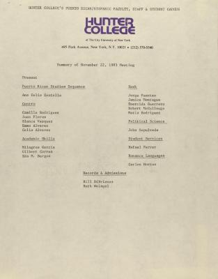 Puerto Rican/Latino Caucus of Hunter College - Summary of November 22, 1983 Meeting