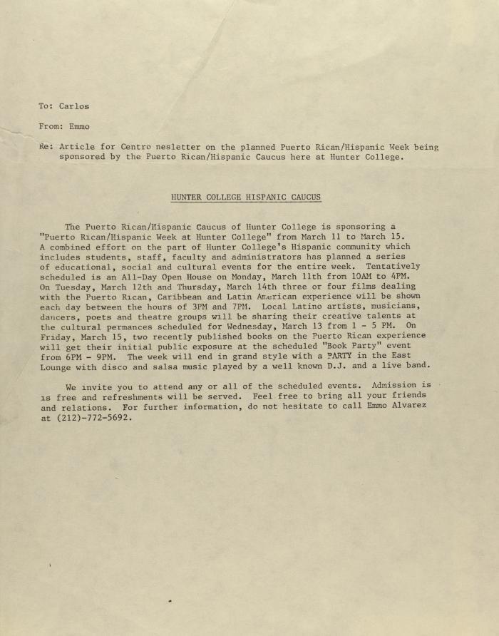 Memorandum from the Puerto Rican/Hispanic Caucus