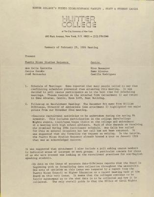 Puerto Rican/Latino Caucus of Hunter College - Summary of November 29, 1984 Meeting