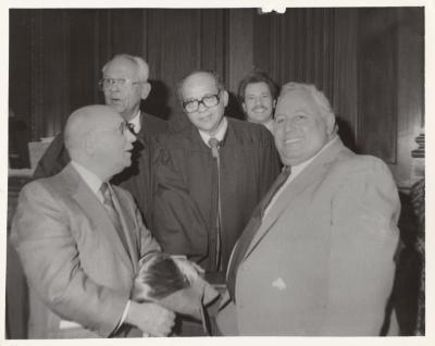 Frank and Felipe Torres, Ramon Velez and Elias Karmon after graduation ceremony, New York, NY