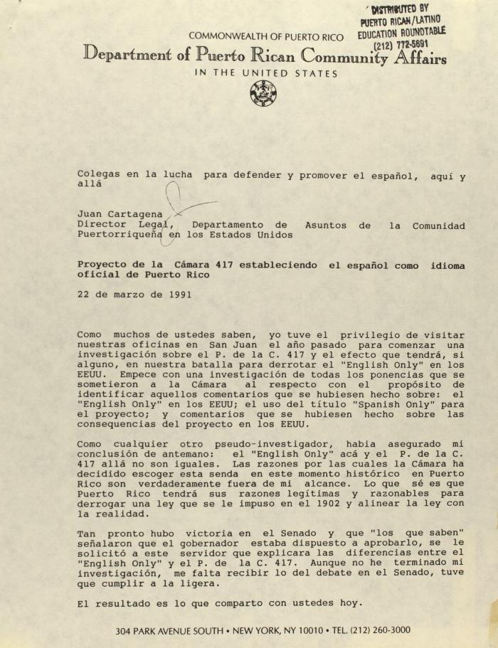 Proyecto de la Cámara 417 estableciendo el Español como idioma oficial de Puerto Rico / House Bill 417 establishing Spanish as the official language of Puerto Rico