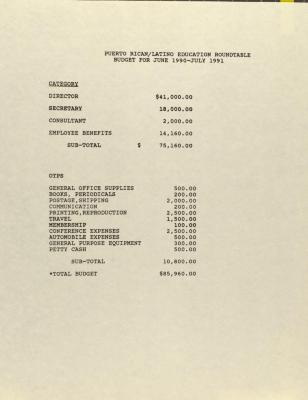Puerto Rican/Latino Education Roundtable - Budget for June 1990-July 1991