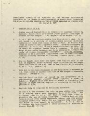 "Translated Summaries of Portions of the Written Testimonies Presented to ""La Camara de Representatives de Puerto Rico"" Regarding the Bill to Declare Spanish as the Official Language of Puerto Rico (P.  de la C. 417)"