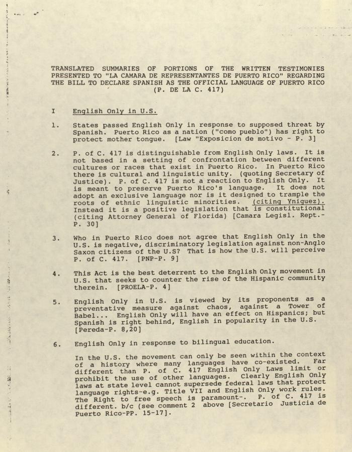 "Translated Summaries of Portions of the Written Testimonies Presented to ""La Camara de Representatives de Puerto Rico"" Regarding the Bill to Declare Spanish as the Official Language of Puerto Rico (P.  de la C. 417)"