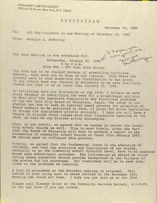 Memorandum from Community Service Society