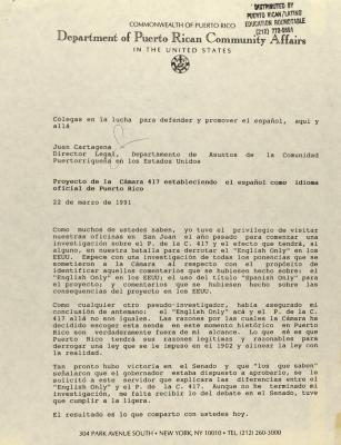 Proyecto de la Cámara 417 estableciendo el Español como idioma oficial de Puerto Rico / House Bill 417 establishing Spanish as the official language of Puerto Rico