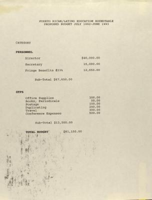 Puerto Rican/Latino Roundtable - Proposed Budget July 1992-June 1993