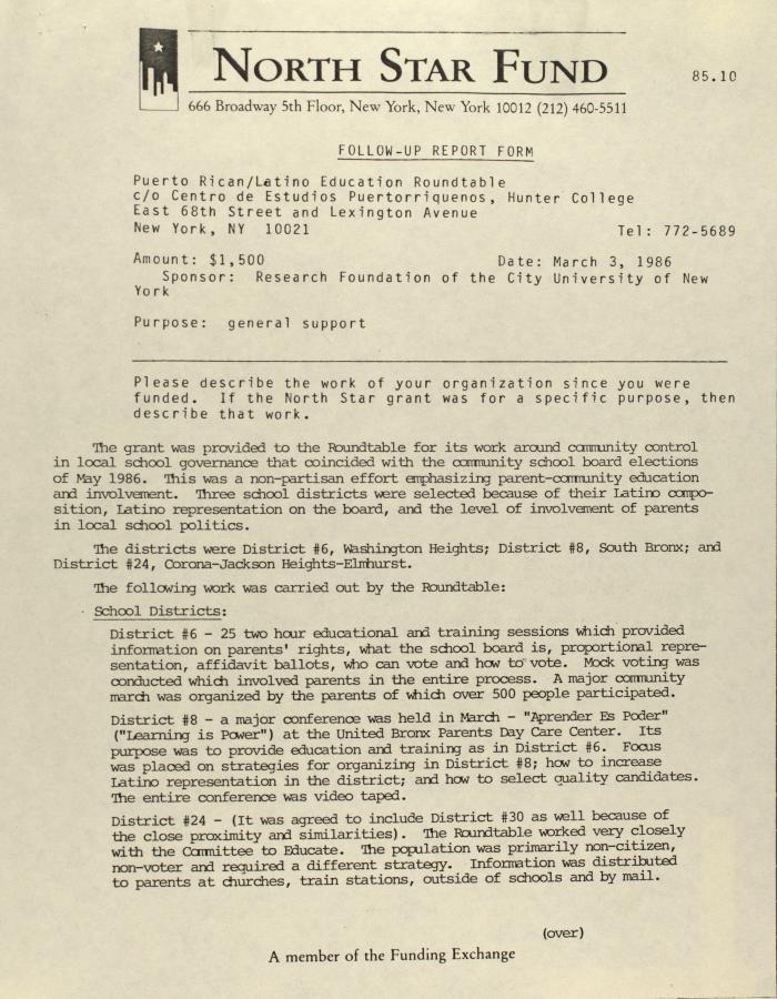 Memorandum from North Star Fund