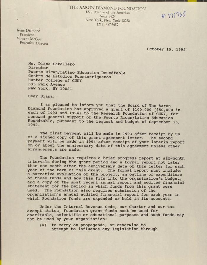 Correspondence from the Aaron Diamond Foundation