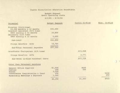 Puerto Rican/Latino Education Roundtable - Budget Requests - Basic Operating Costs