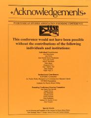 Puerto Rican Studies Association Founding Conference - Acknowledgments