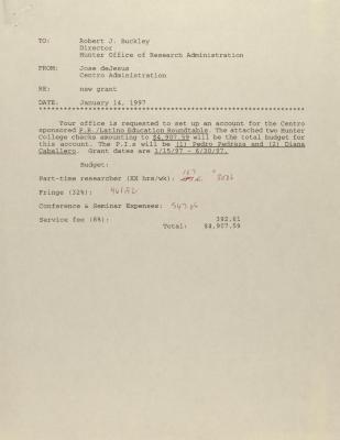 Memorandum from Jose deJesus