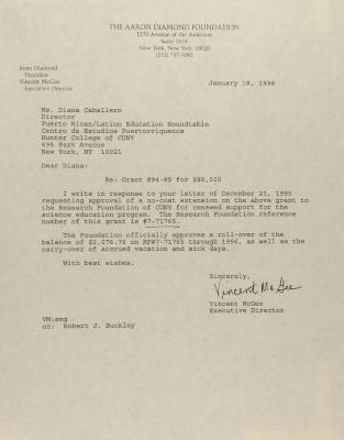 Correspondence from Aaron Diamond Foundation