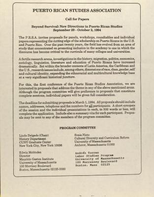 Puerto Rican Studies Association - Call for Papers - Beyond Survival: New Directions in Puerto Rican Studies