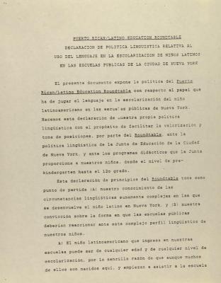 Puerto Rican/Latino Education Roundtable - Declaracion de Politica Relativa Al Uso del Lenguaje el la Escolarizacion de Niños Latinos en las Escuelas Publicas de la Ciudad de Nueva York