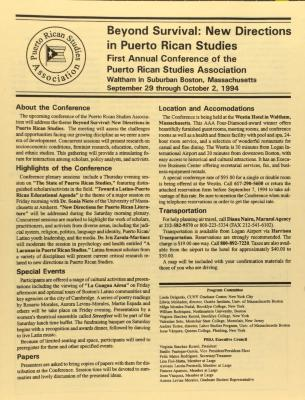 Beyond Survival: New Directions in Puerto Rican Studies - First Annual Conference of the Puerto Rican Studies Association