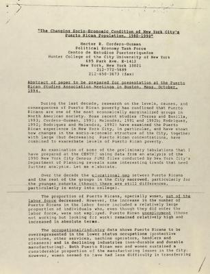 """The Changing Socio-Economic Condition of New York City's Puerto Rican Population, 1980-1990"""