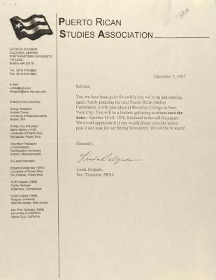 Correspondence from the Puerto Rican Studies Association