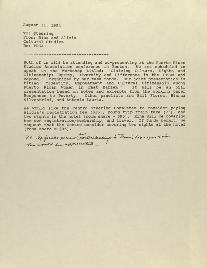 Memorandum from Rina Benmayor and Alicia Cardona