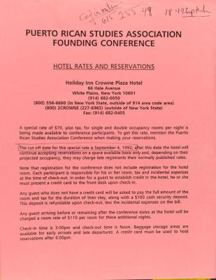 Puerto Rican Studies Association Founding Conference - Hotel Rates and Reservations