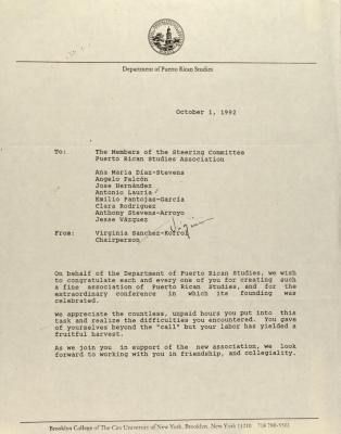 Memorandum from the Department of Puerto Rican Studies of Brooklyn College