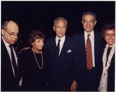 Mayor David Dinkins with Frank Torres, Yolanda Torres, Cesar Perales and Josephine Nieves