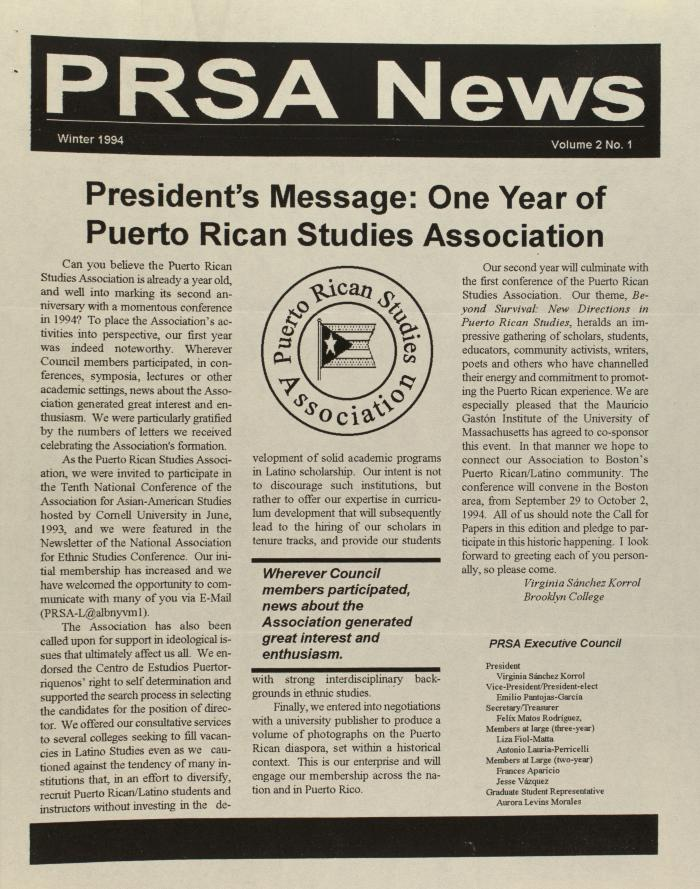 President's Message: One Year of Puerto Rican Studies Association