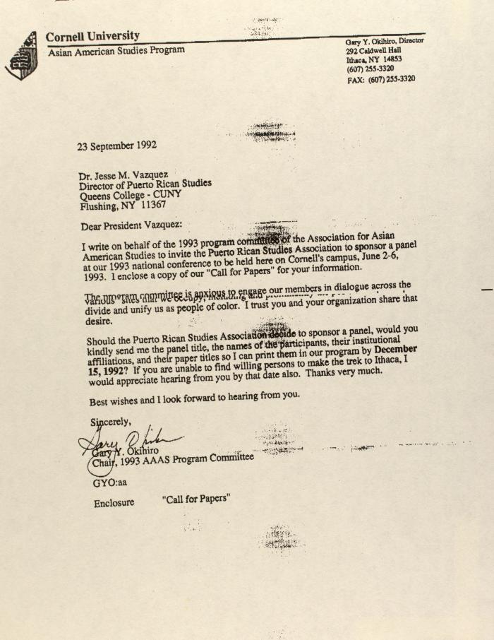 Correspondence from Cornell University