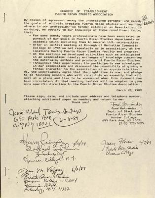 Chapter of Establishment of the Puerto Rican Studies Association