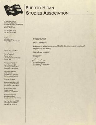 Correspondence from Puerto Rican Studies Association