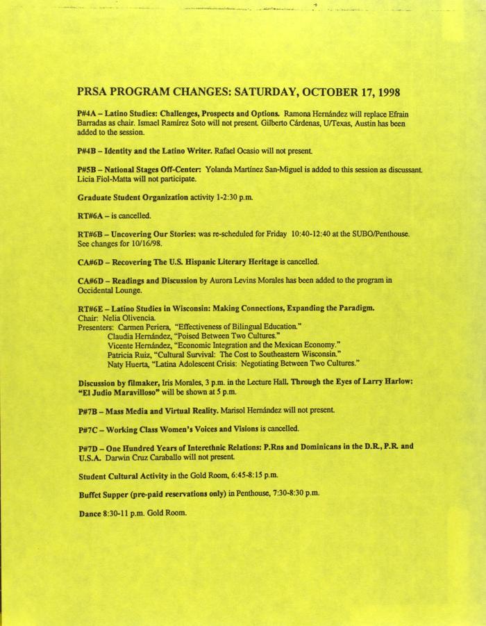 PRSA Program Changes