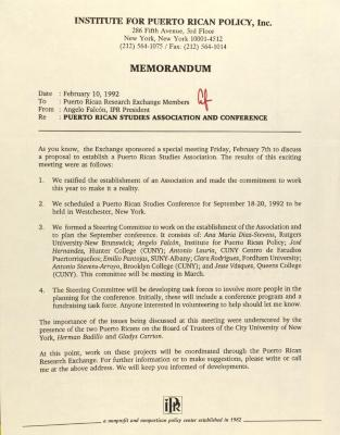 Memorandum from the Institute for Puerto Rican Policy, Inc.
