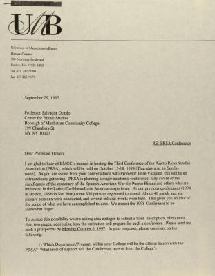 Correspondence from the University of Massachusetts, Boston