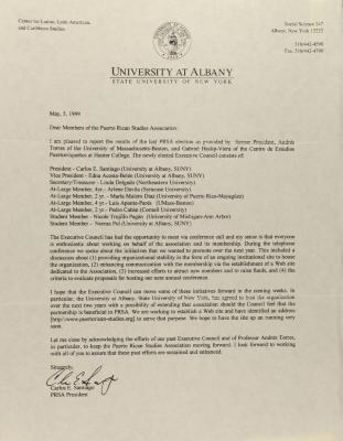 Correspondence from the University of Albany