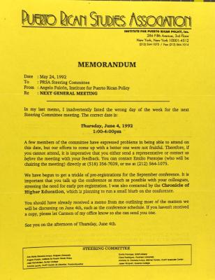 Memorandum from the Puerto Rican Studies Association