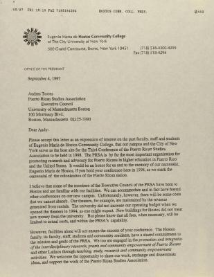 Correspondence from Hostos Community College