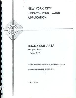 New York City Empowerment Zone Application, Bronx Sub-Arena