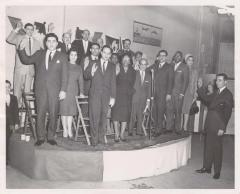 Congressman Herman Badillo swearing in the officers of the Robert F. Wagner Association
