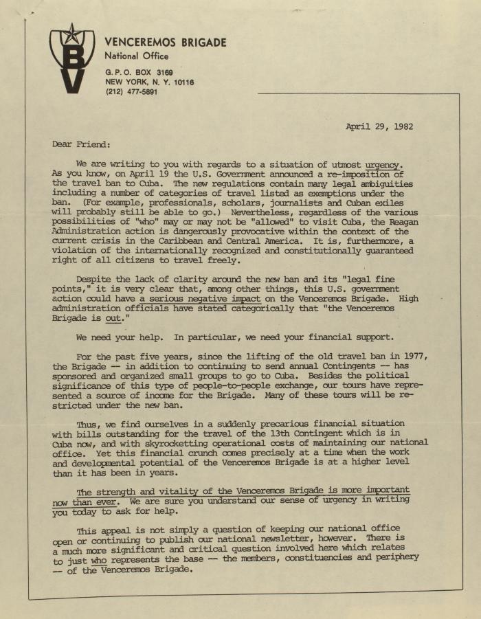 Correspondence from the Venceremos Brigade