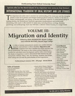 Volume III: Migration and Identity