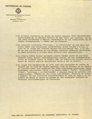 Correspondence from the Universidad de Panama