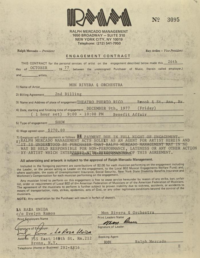 Engagement Contract of Ralph Mercado Management