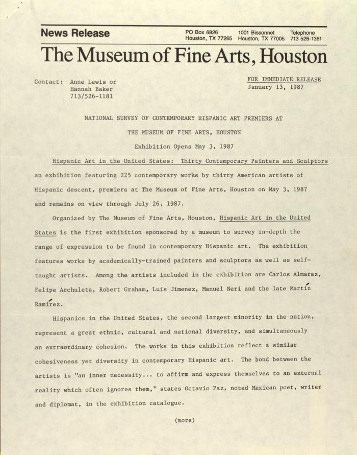 National Survey of Contemporary Hispanic Art Premiers at the Museum of Fine Arts, Houston